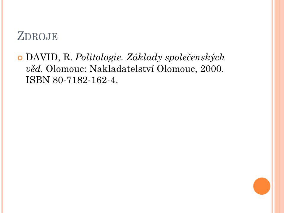Z DROJE DAVID, R. Politologie. Základy společenských věd. Olomouc: Nakladatelství Olomouc, 2000. ISBN 80-7182-162-4.