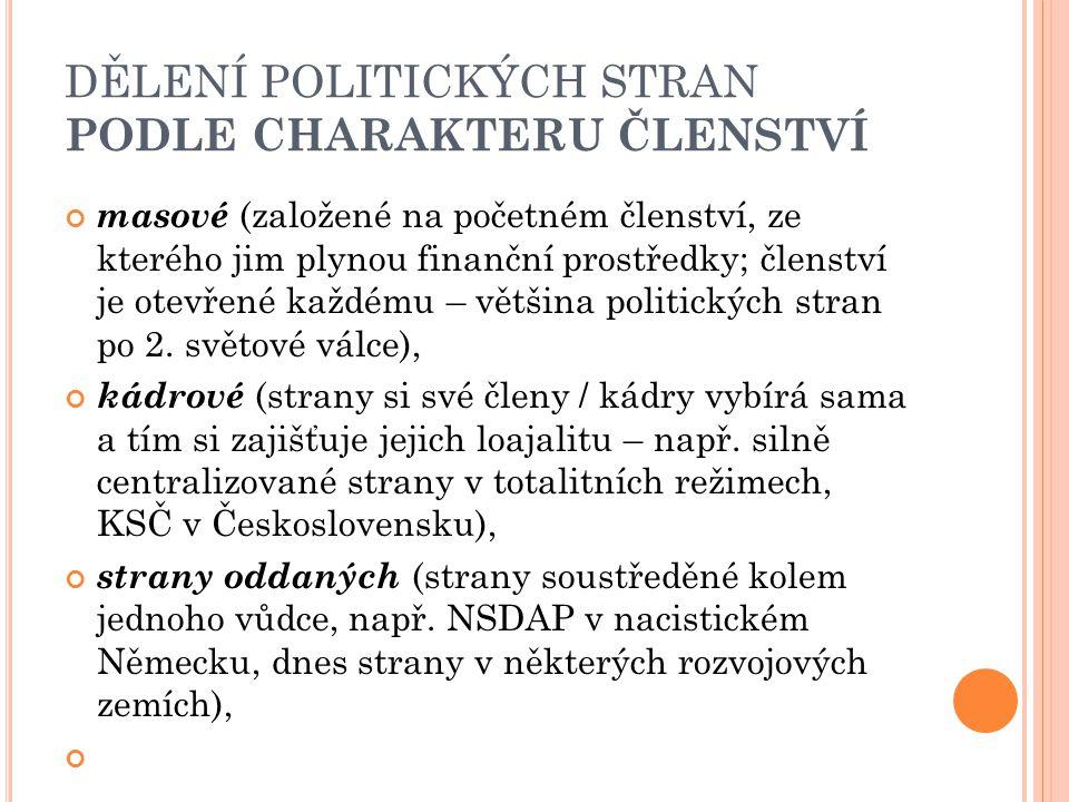 DĚLENÍ POLITICKÝCH STRAN PODLE CHARAKTERU ČLENSTVÍ masové (založené na početném členství, ze kterého jim plynou finanční prostředky; členství je otevř