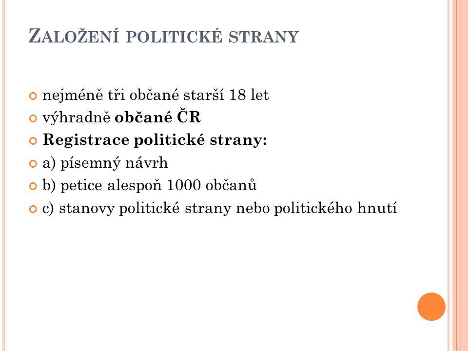 Z ALOŽENÍ POLITICKÉ STRANY nejméně tři občané starší 18 let výhradně občané ČR Registrace politické strany: a) písemný návrh b) petice alespoň 1000 ob