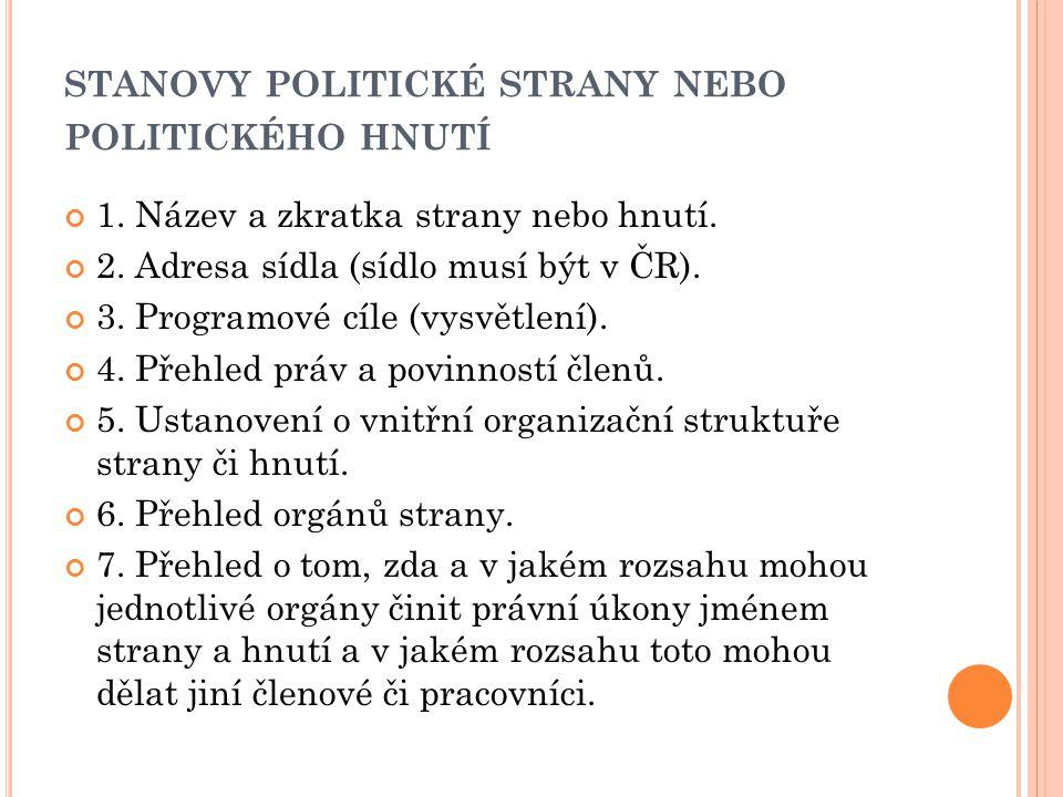 STANOVY POLITICKÉ STRANY NEBO POLITICKÉHO HNUTÍ 8.