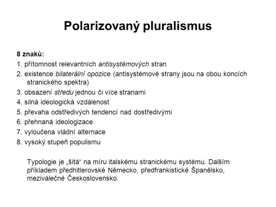 Polarizovaný pluralismus 8 znaků: 1. přítomnost relevantních antisystémových stran 2. existence bilaterální opozice (antisystémové strany jsou na obou