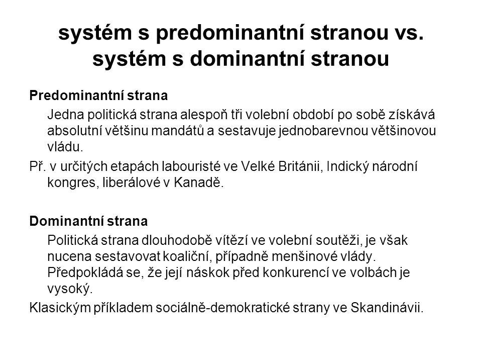 systém s predominantní stranou vs. systém s dominantní stranou Predominantní strana Jedna politická strana alespoň tři volební období po sobě získává