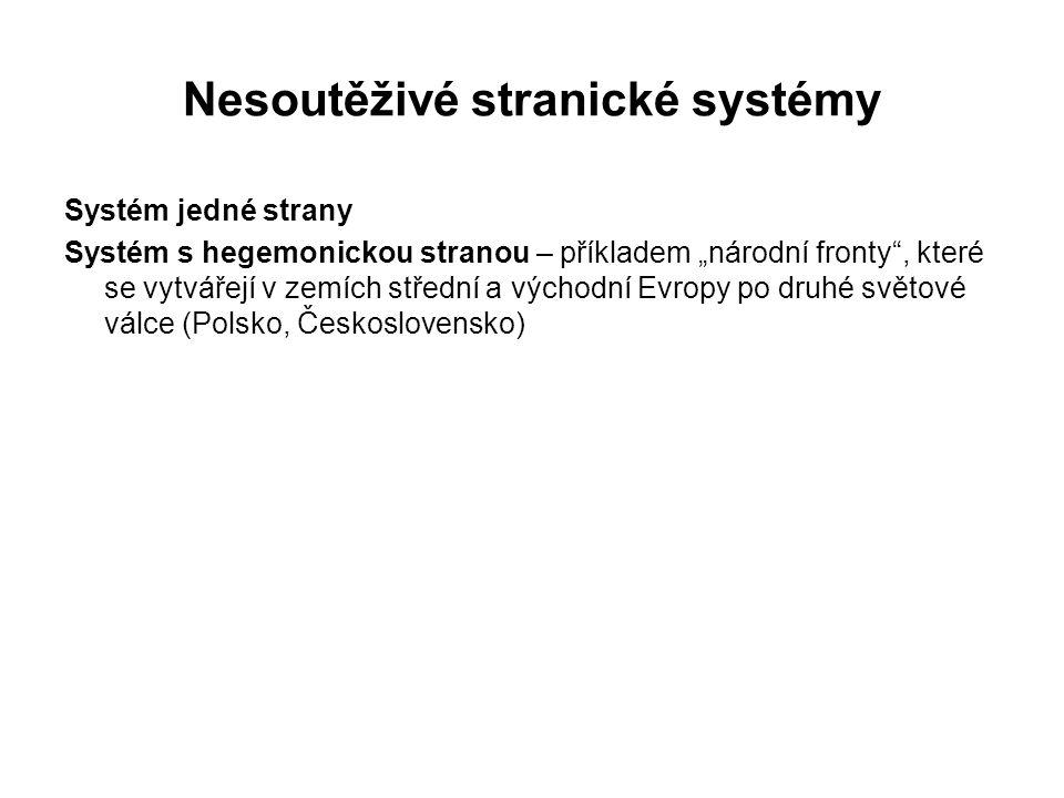 """Nesoutěživé stranické systémy Systém jedné strany Systém s hegemonickou stranou – příkladem """"národní fronty"""", které se vytvářejí v zemích střední a vý"""