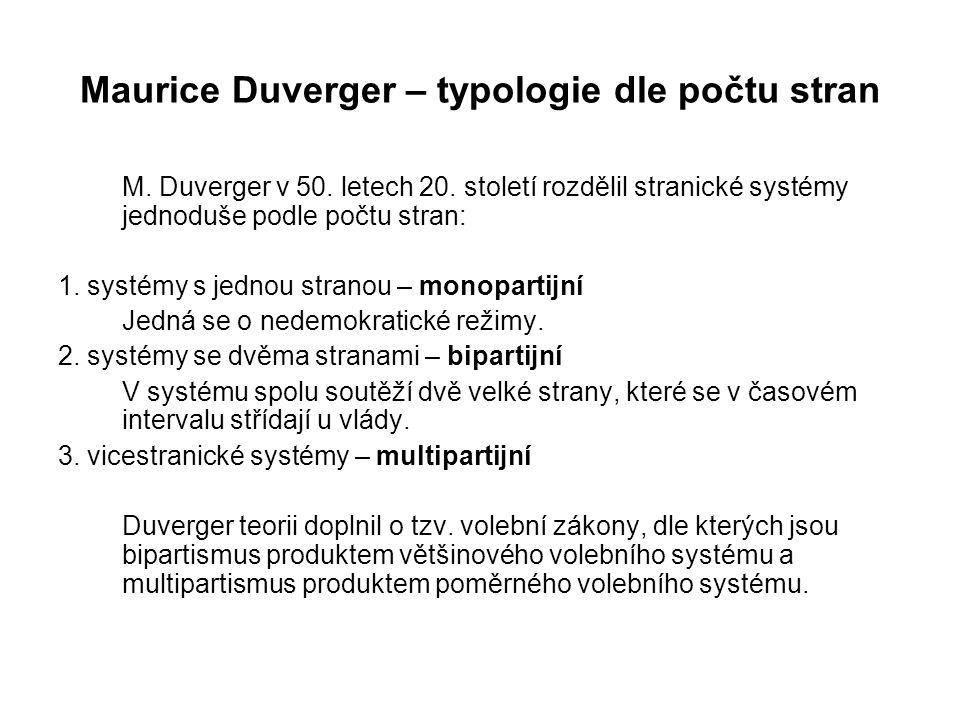 Maurice Duverger – typologie dle počtu stran M. Duverger v 50. letech 20. století rozdělil stranické systémy jednoduše podle počtu stran: 1. systémy s