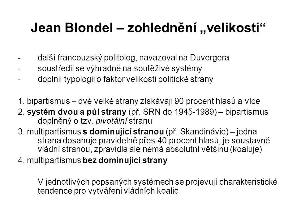 """Jean Blondel – zohlednění """"velikosti"""" -další francouzský politolog, navazoval na Duvergera -soustředil se výhradně na soutěživé systémy -doplnil typol"""
