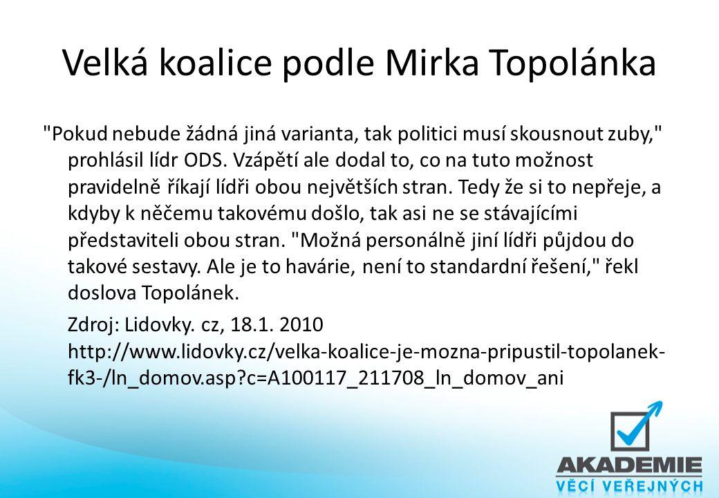 Velká koalice podle Mirka Topolánka