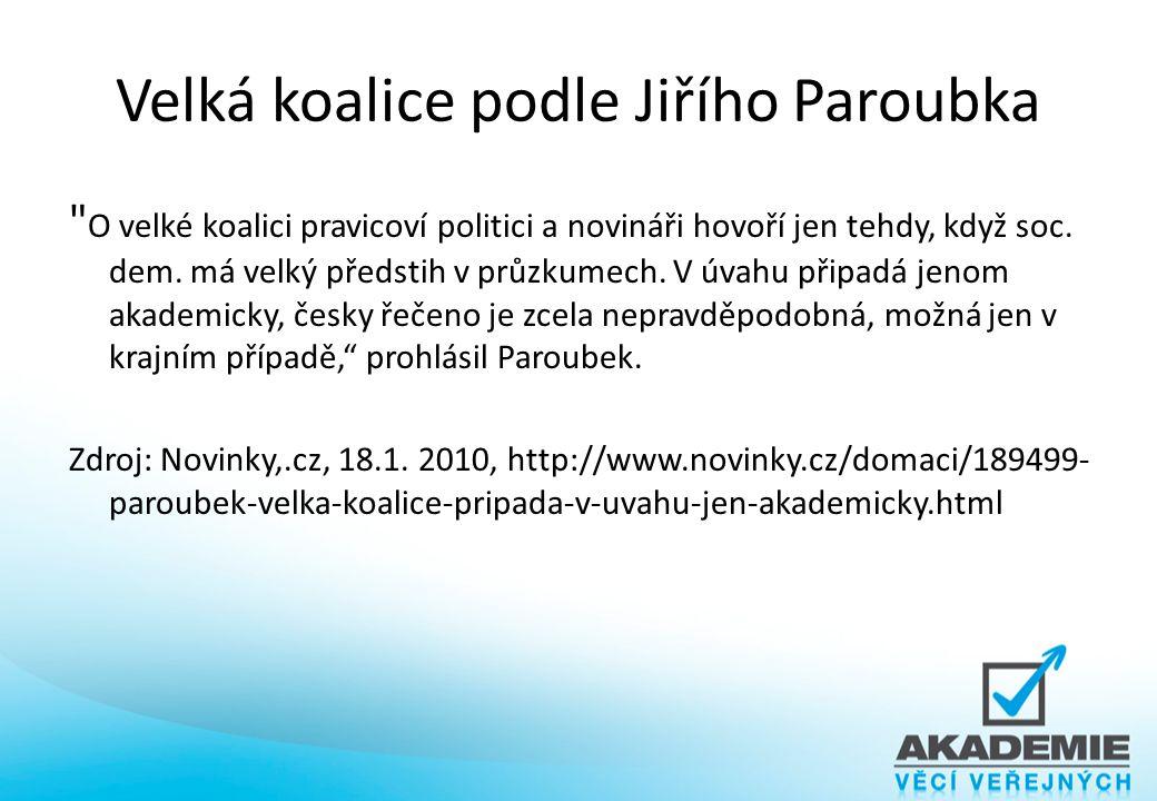 Velká koalice podle Jiřího Paroubka