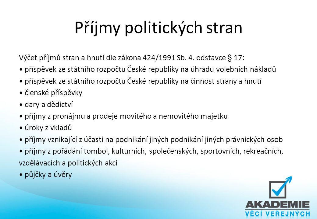 Příjmy politických stran Výčet příjmů stran a hnutí dle zákona 424/1991 Sb. 4. odstavce § 17: příspěvek ze státního rozpočtu České republiky na úhradu