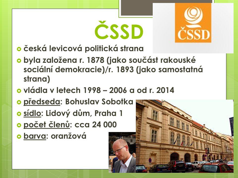 ČSSD  česká levicová politická strana  byla založena r.