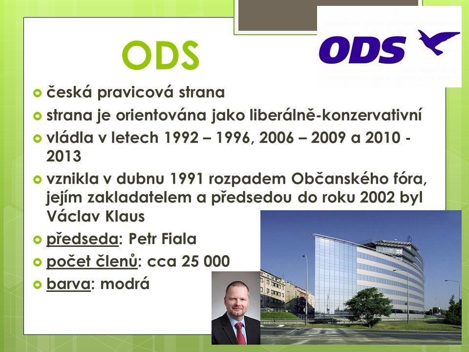 ODS  česká pravicová strana  strana je orientována jako liberálně-konzervativní  vládla v letech 1992 – 1996, 2006 – 2009 a 2010 - 2013  vznikla v dubnu 1991 rozpadem Občanského fóra, jejím zakladatelem a předsedou do roku 2002 byl Václav Klaus  předseda: Petr Fiala  počet členů: cca 25 000  barva: modrá