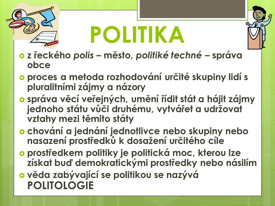 POLITIKA  z řeckého polis – město, politiké techné – správa obce  proces a metoda rozhodování určité skupiny lidí s pluralitními zájmy a názory  správa věcí veřejných, umění řídit stát a hájit zájmy jednoho státu vůči druhému, vytvářet a udržovat vztahy mezi těmito státy  chování a jednání jednotlivce nebo skupiny nebo nasazení prostředků k dosažení určitého cíle  prostředkem politiky je politická moc, kterou lze získat buď demokratickými prostředky nebo násilím  věda zabývající se politikou se nazývá POLITOLOGIE