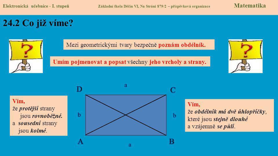 Elektronická učebnice - I. stupeň Základní škola Děčín VI, Na Stráni 879/2 – příspěvková organizace Matematika 24.2 Co již víme? Mezi geometrickými tv