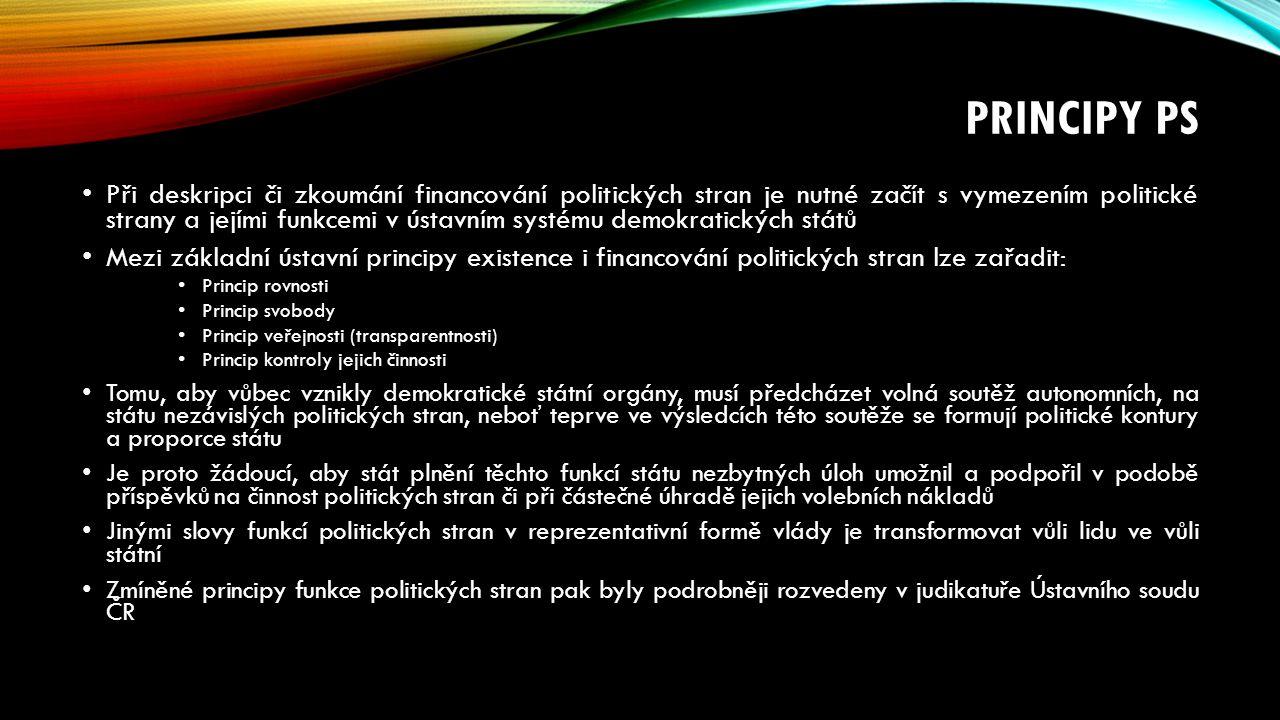 PRINCIPY PS Při deskripci či zkoumání financování politických stran je nutné začít s vymezením politické strany a jejími funkcemi v ústavním systému demokratických států Mezi základní ústavní principy existence i financování politických stran lze zařadit: Princip rovnosti Princip svobody Princip veřejnosti (transparentnosti) Princip kontroly jejich činnosti Tomu, aby vůbec vznikly demokratické státní orgány, musí předcházet volná soutěž autonomních, na státu nezávislých politických stran, neboť teprve ve výsledcích této soutěže se formují politické kontury a proporce státu Je proto žádoucí, aby stát plnění těchto funkcí státu nezbytných úloh umožnil a podpořil v podobě příspěvků na činnost politických stran či při částečné úhradě jejich volebních nákladů Jinými slovy funkcí politických stran v reprezentativní formě vlády je transformovat vůli lidu ve vůli státní Zmíněné principy funkce politických stran pak byly podrobněji rozvedeny v judikatuře Ústavního soudu ČR