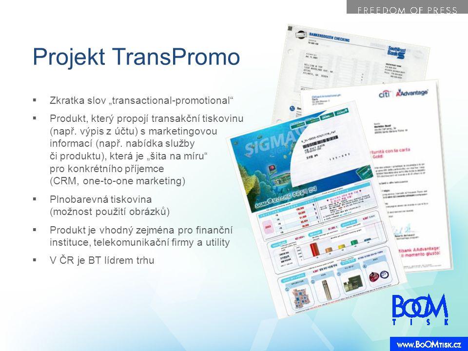 """Projekt TransPromo  Zkratka slov """"transactional-promotional""""  Produkt, který propojí transakční tiskovinu (např. výpis z účtu) s marketingovou infor"""