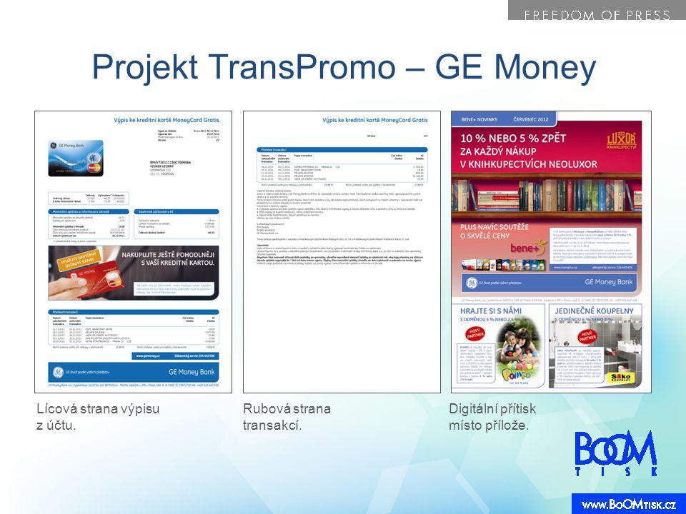 Projekt TransPromo – GE Money Lícová strana výpisu z účtu. Rubová strana transakcí. Digitální přítisk místo přílože.