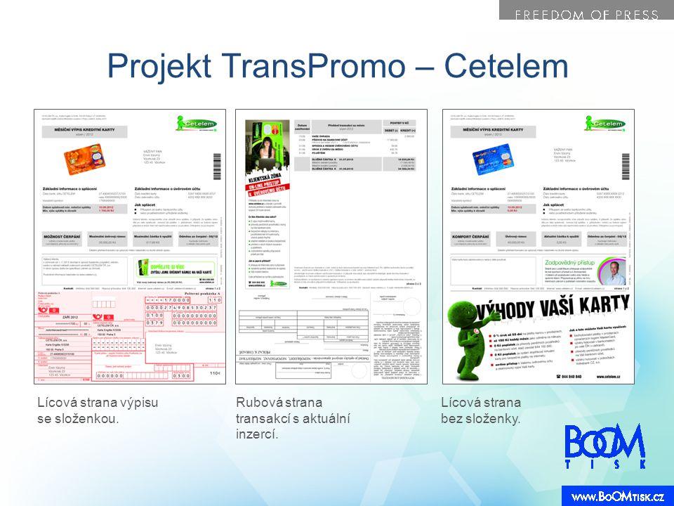 Projekt TransPromo – Cetelem Lícová strana výpisu se složenkou. Rubová strana transakcí s aktuální inzercí. Lícová strana bez složenky.