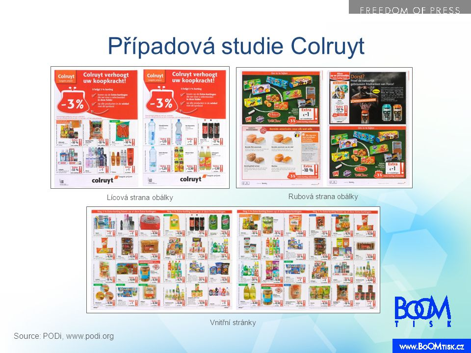Případová studie Colruyt Lícová strana obálky Rubová strana obálky Vnitřní stránky Source: PODi, www.podi.org