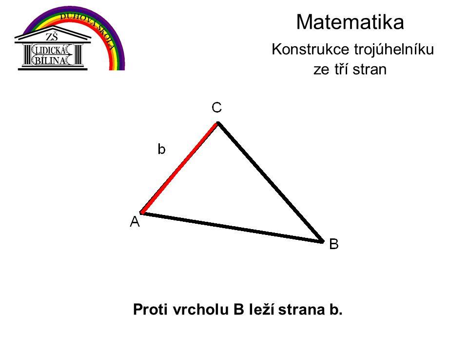 Matematika Konstrukce trojúhelníku ze tří stran Proti vrcholu B leží strana b.