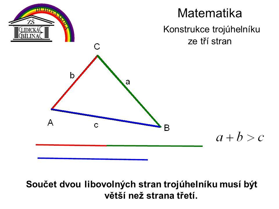 Matematika Konstrukce trojúhelníku ze tří stran Součet dvou libovolných stran trojúhelníku musí být větší než strana třetí.