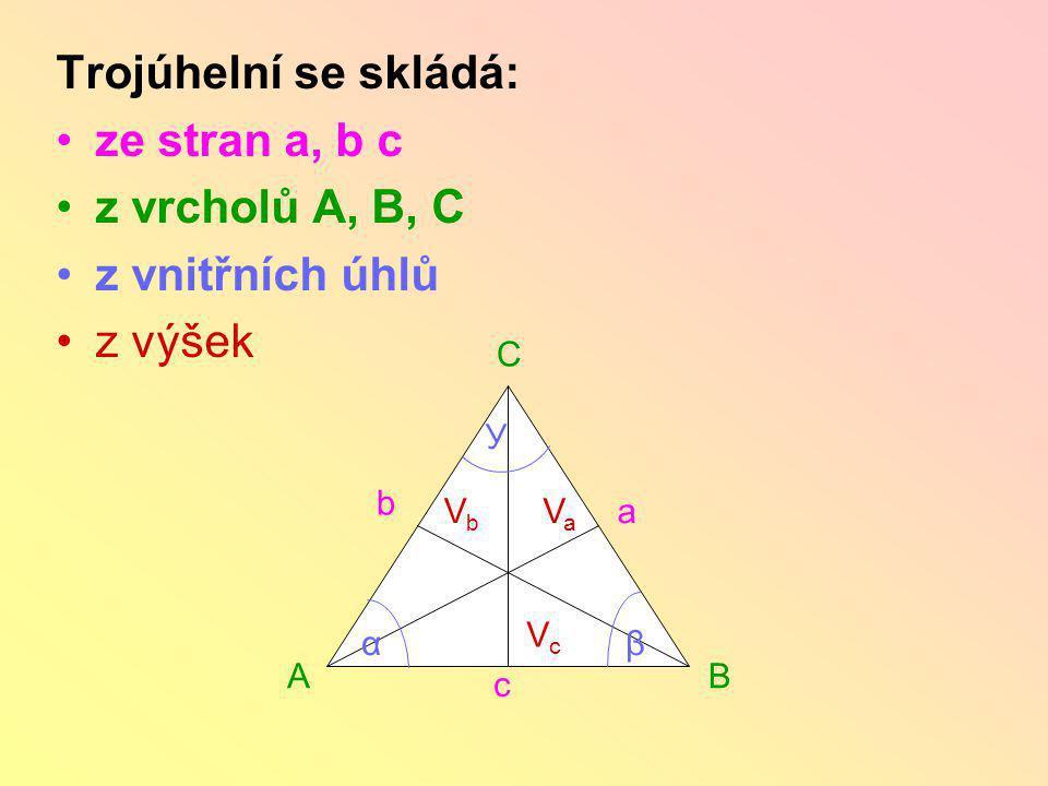 TROJÚHELNÍK Vyjmenuj, z čeho se skládá trojúhelník ABC. C AB