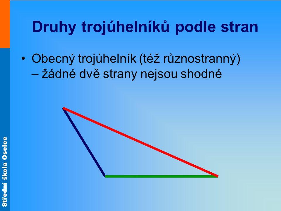 Střední škola Oselce Druhy trojúhelníků podle stran Obecný trojúhelník (též různostranný) – žádné dvě strany nejsou shodné
