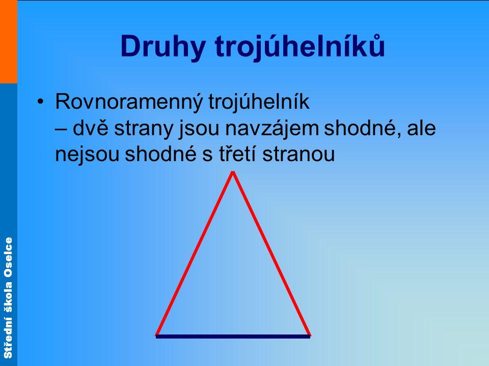 Střední škola Oselce Druhy trojúhelníků Rovnoramenný trojúhelník – dvě strany jsou navzájem shodné, ale nejsou shodné s třetí stranou