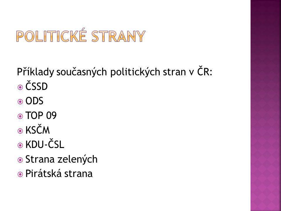 Příklady současných politických stran v ČR:  ČSSD  ODS  TOP 09  KSČM  KDU-ČSL  Strana zelených  Pirátská strana