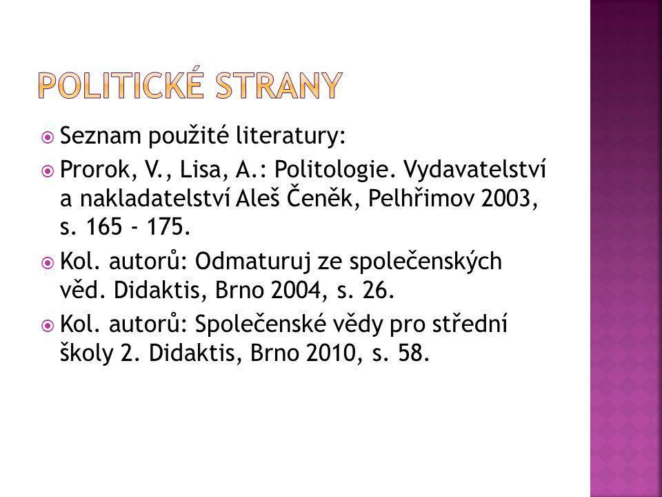  Seznam použité literatury:  Prorok, V., Lisa, A.: Politologie. Vydavatelství a nakladatelství Aleš Čeněk, Pelhřimov 2003, s. 165 - 175.  Kol. auto