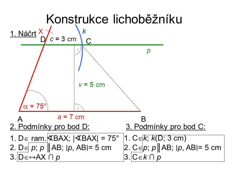 Konstrukce lichoběžníku 1. Náčrt a = 7 cm AB C D c = 3 cm  = 75° v = 5 cm   X p k 2. Podmínky pro bod D: 2. D  p; p ║AB; ∣ p, AB ∣ = 5 cm 1. D  r