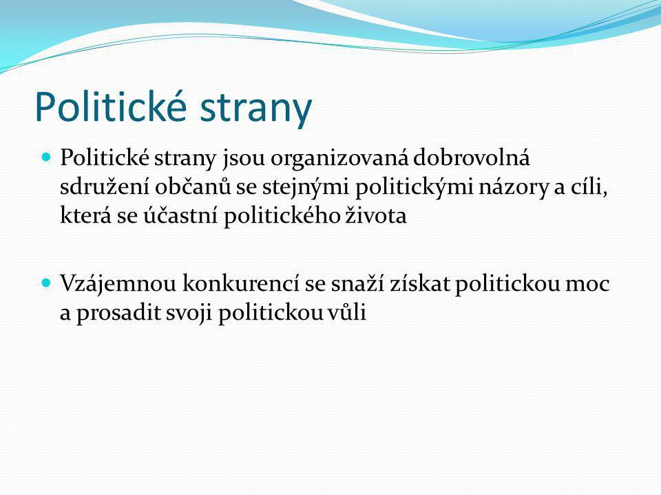 Politické strany Politické strany jsou organizovaná dobrovolná sdružení občanů se stejnými politickými názory a cíli, která se účastní politického živ