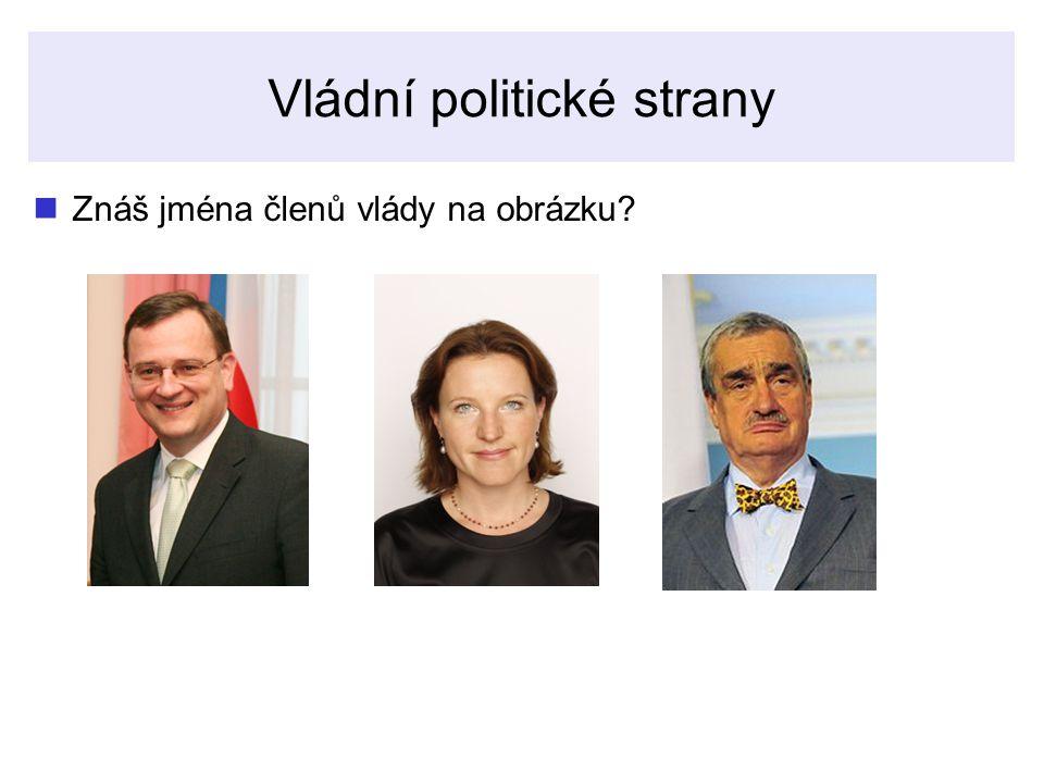 Vládní politické strany Znáš jména členů vlády na obrázku?