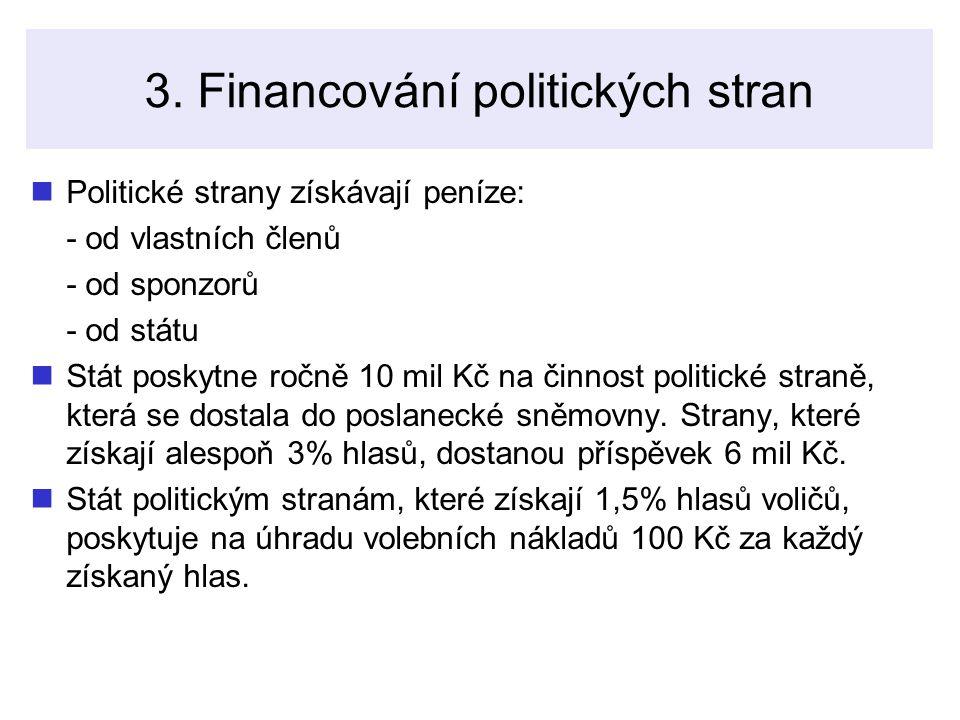 3. Financování politických stran Politické strany získávají peníze: - od vlastních členů - od sponzorů - od státu Stát poskytne ročně 10 mil Kč na čin