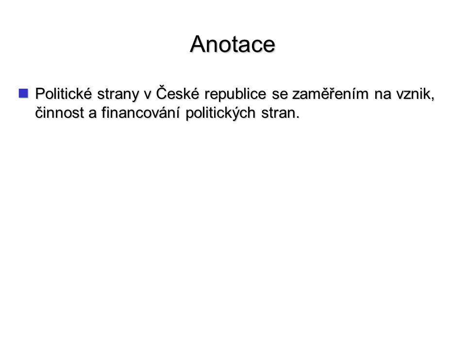Anotace Politické strany v České republice se zaměřením na vznik, činnost a financování politických stran.