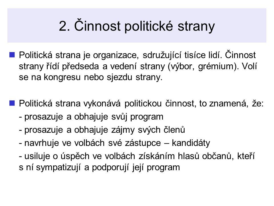 2.Činnost politické strany Politická strana je organizace, sdružující tisíce lidí.