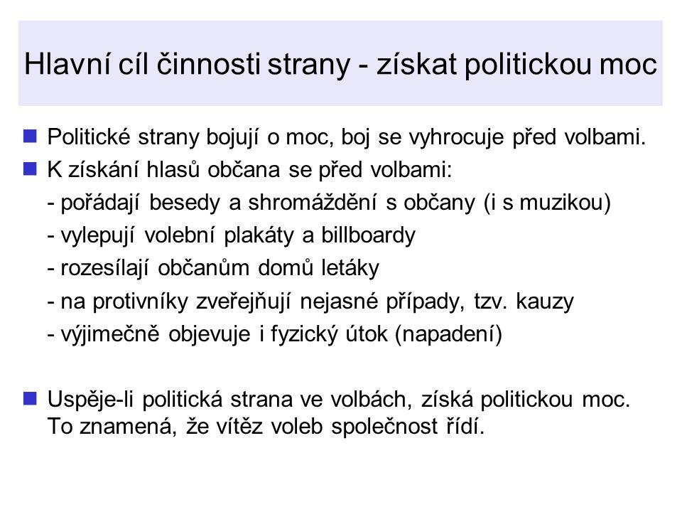 Hlavní cíl činnosti strany - získat politickou moc Politické strany bojují o moc, boj se vyhrocuje před volbami.