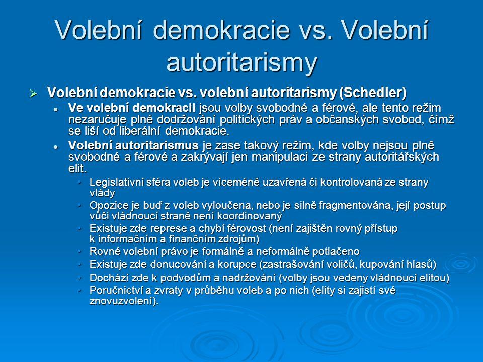 Volební demokracie vs. Volební autoritarismy  Volební demokracie vs. volební autoritarismy (Schedler) Ve volební demokracii jsou volby svobodné a fér