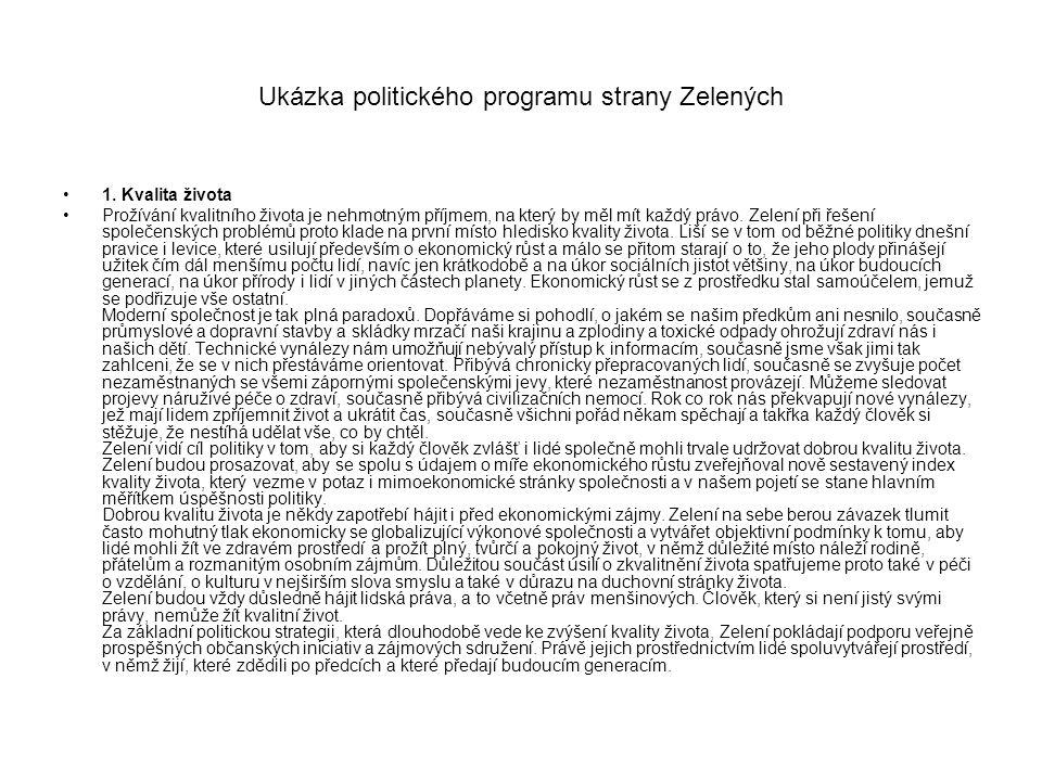 Ukázka politického programu strany Zelených 1.
