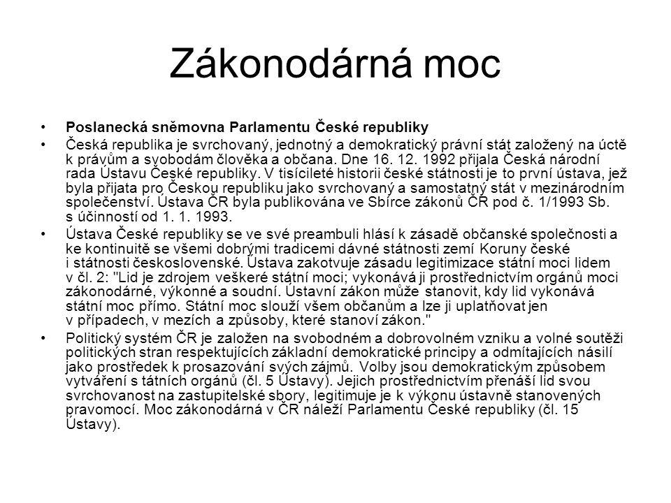 Zákonodárná moc Poslanecká sněmovna Parlamentu České republiky Česká republika je svrchovaný, jednotný a demokratický právní stát založený na úctě k p