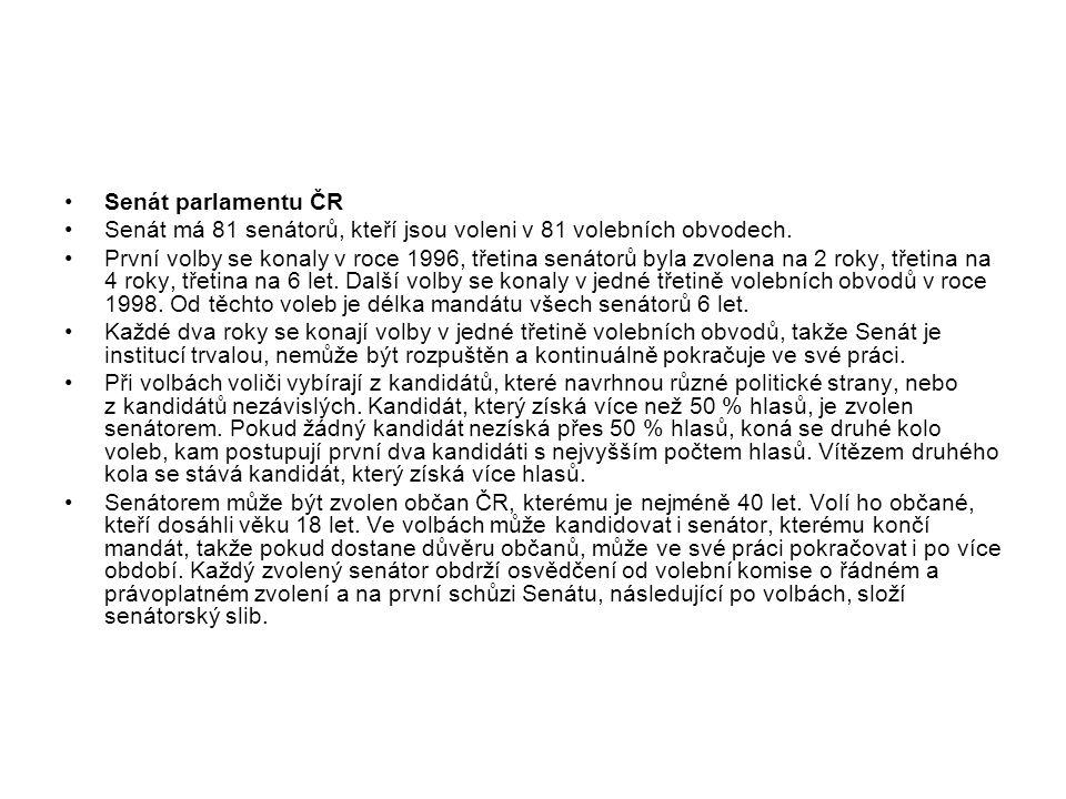 Senát parlamentu ČR Senát má 81 senátorů, kteří jsou voleni v 81 volebních obvodech. První volby se konaly v roce 1996, třetina senátorů byla zvolena