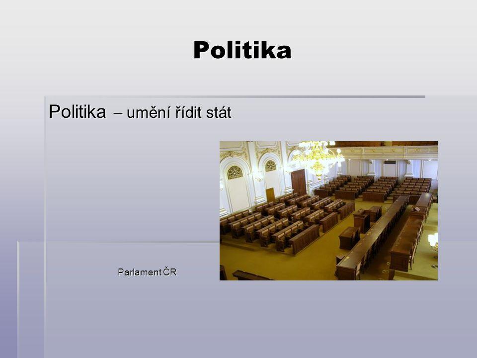 Politika Politika – umění řídit stát Parlament ČR Parlament ČR