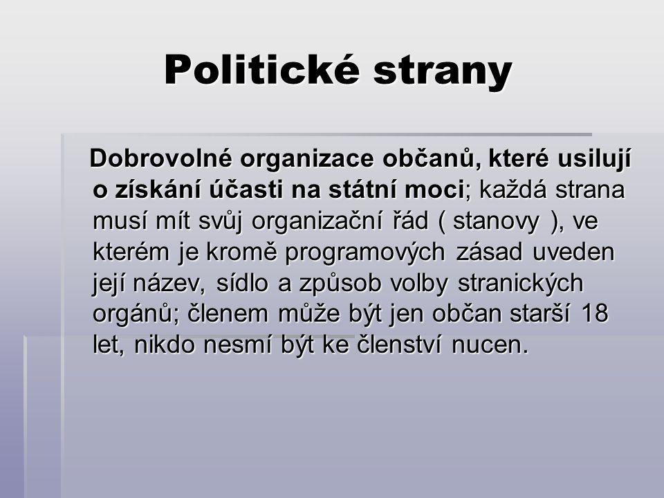 Politické strany Dobrovolné organizace občanů, které usilují o získání účasti na státní moci; každá strana musí mít svůj organizační řád ( stanovy ),