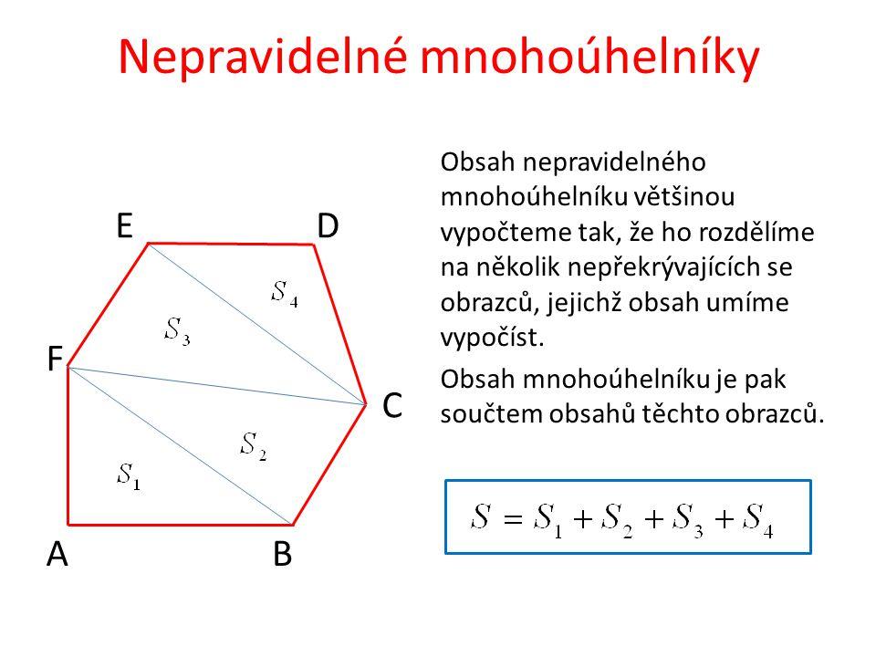Nepravidelné mnohoúhelníky A C B Obsah nepravidelného mnohoúhelníku většinou vypočteme tak, že ho rozdělíme na několik nepřekrývajících se obrazců, je