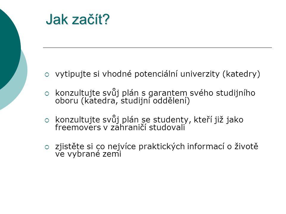 Jak začít?  vytipujte si vhodné potenciální univerzity (katedry)  konzultujte svůj plán s garantem svého studijního oboru (katedra, studijní oddělen