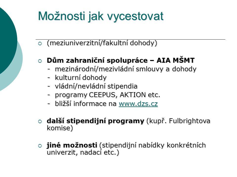 Možnosti jak vycestovat  (meziuniverzitní/fakultní dohody)  Dům zahraniční spolupráce – AIA MŠMT - mezinárodní/mezivládní smlouvy a dohody - mezinár
