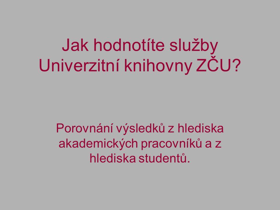 Jak hodnotíte služby Univerzitní knihovny ZČU.
