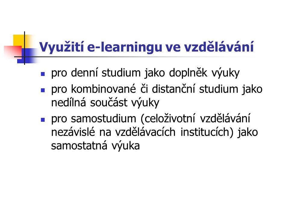 Využití e-learningu ve vzdělávání pro denní studium jako doplněk výuky pro kombinované či distanční studium jako nedílná součást výuky pro samostudium (celoživotní vzdělávání nezávislé na vzdělávacích institucích) jako samostatná výuka