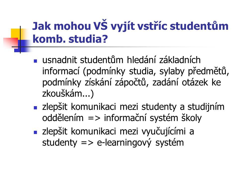 Jak mohou VŠ vyjít vstříc studentům komb. studia.