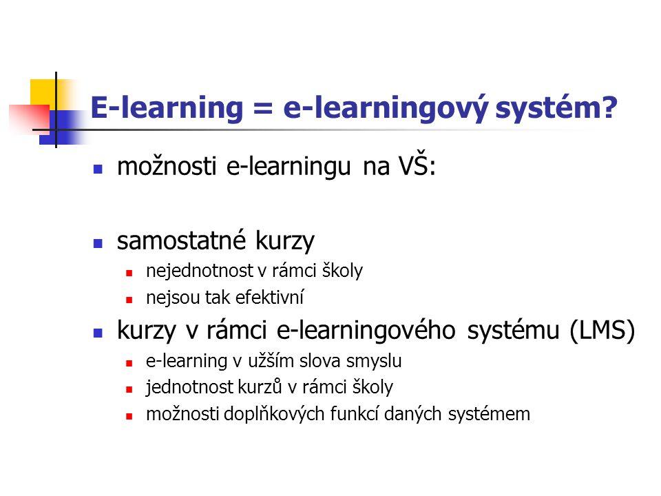 E-learning a informační systém školy 3 možnosti: nezávislé fungování univerzitního informačního systému a e- learningového systému => neefektivní spolupráce univerzitního informačního systému s e- learningovým systémem integrace e-learningového systému do univerzitního informačního systému => nejjefektivnější řešení