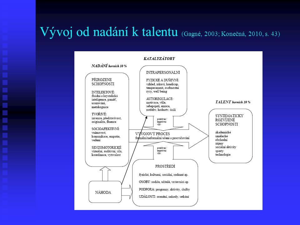 Kritéria pro určení talentu (Sternberg, 1993) 1.excelentnost – vynikající potenciál 2.