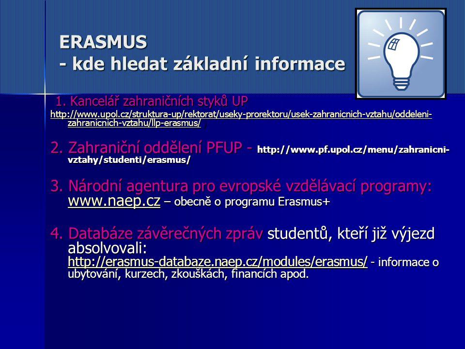 ERASMUS - kde hledat základní informace 1. Kancelář zahraničních styků UP 1. Kancelář zahraničních styků UP http://www.upol.cz/struktura-up/rektorat/u